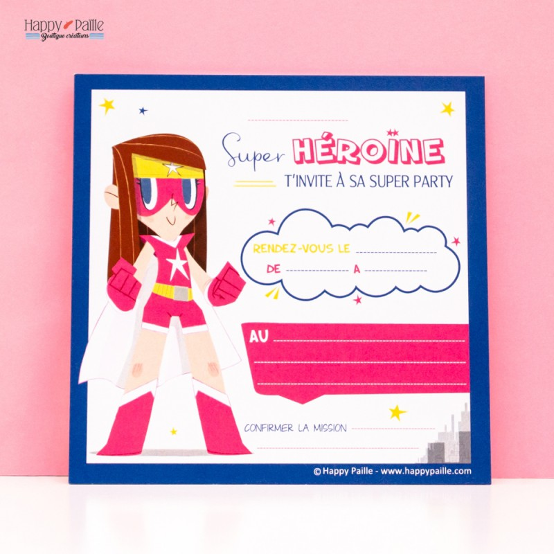 Invitation anniversaire super hero fille