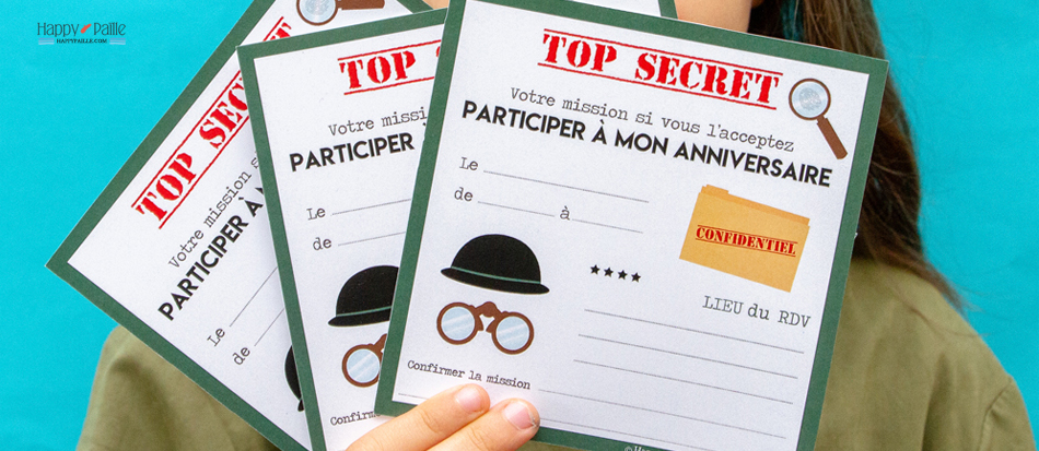 Moderne Invitation anniversaire agent secret - Sticker top secret CX-75