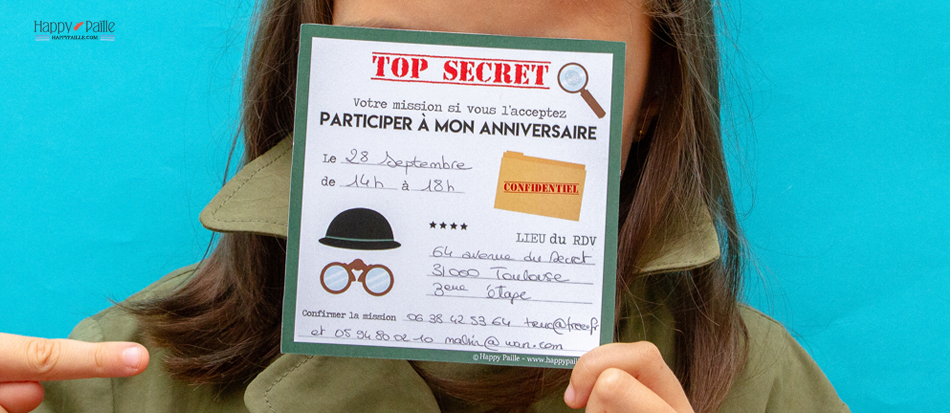 Moderne Invitation anniversaire agent secret - Sticker top secret MC-63
