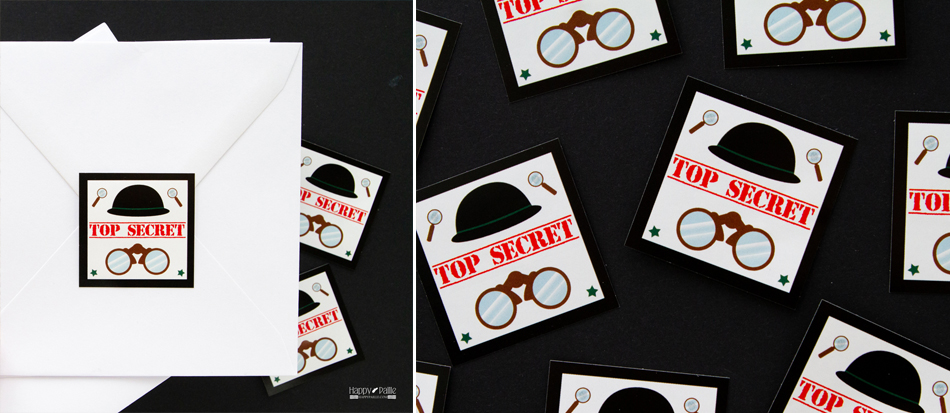 Extremement Invitation anniversaire agent secret - Sticker top secret QJ-66